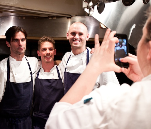 Chefs relax after service in the Beard House kitchen